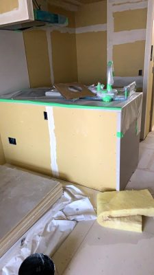 パテ塗り施工途中の様子